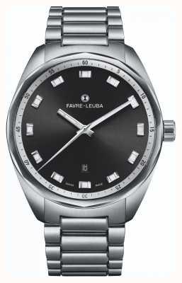 Favre Leuba Data chefe do céu | pulseira de aço inoxidável | mostrador preto 00.10201.08.11.20