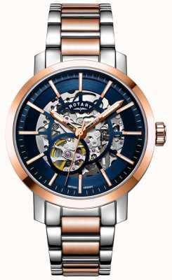 Rotary Greenwich g2 automático | pulseira em dois tons | mostrador esqueleto GB05352/05