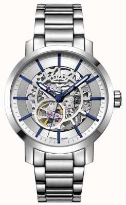 Rotary Greenwich automático | pulseira de aço inoxidável | mostrador prateado GB05350/06