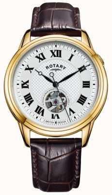 Rotary Cambridge automático | pulseira de couro marrom | mostrador prateado GS05368/70