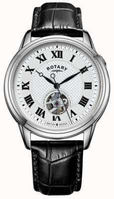 Rotary Cambridge automático | pulseira de couro preto | mostrador prateado GS05365/70
