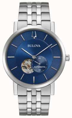 Bulova América clipper | automático | mostrador azul | aço inoxidável 96A247