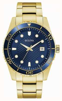 Bulova Esporte | pulseira de aço inoxidável ouro | mostrador azul 98A197