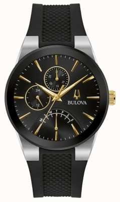 Bulova Homens | futuro | mostrador preto | pulseira de borracha preta 98C138