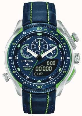 Citizen Promaster sst | hora mundial | pulseira de couro azul JW0138-08L