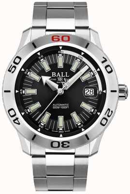 Ball Watch Company Fireman black necc | pulseira de aço inoxidável | mostrador preto DM3090A-S3J-BK