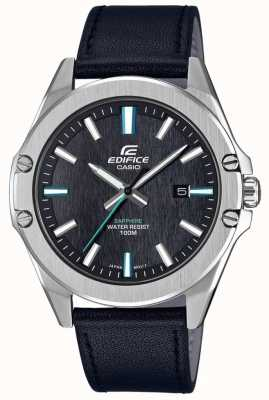 Casio Bracelete de couro de cristal de safira masculina EFR-S107L-1AVUEF
