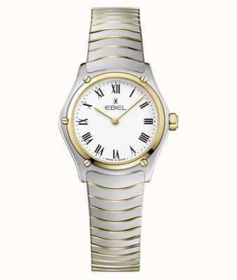 EBEL Esporte feminino clássico 24mm mostrador branco pulseira de dois tons de aço inoxidável 1216384A