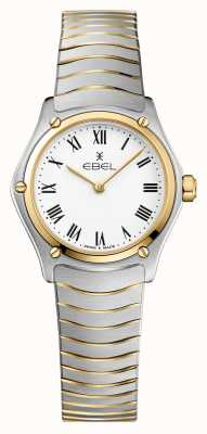 EBEL Bracelete desportivo feminino clássico de 24 mm branco e dois tons em aço 1216384A