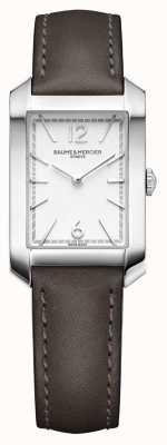 Baume & Mercier Lady hampton | mostrador prateado opalino | pulseira de couro liqourice M0A10471