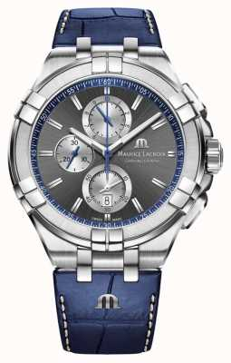Maurice Lacroix Aikon de homem | pulseira de couro azul | mostrador cinza AI1018-SS001-333-1