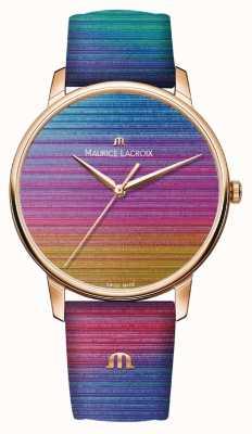 Maurice Lacroix Eliros rainbow edição limitada | pulseira de couro arco-íris EL1118-PVP01-090-1
