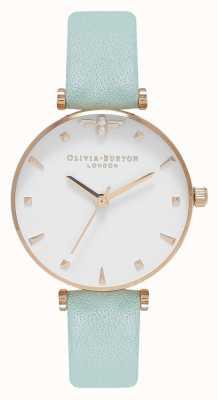 Olivia Burton Abelha rainha | pulseira de couro menta | mostrador branco OB16AM143
