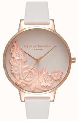 Olivia Burton Mostradores rosa | pulseira de couro blush | mostrador floral OB16FS85