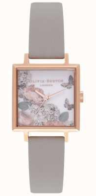 Olivia Burton Mostradores de assinatura | pulseira de couro cinza | mostrador floral OB16WG41