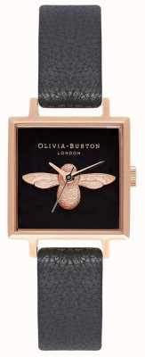 Olivia Burton Abelha 3d | pulseira de couro preto | mostrador de abelha quadrado preto OB16AM128