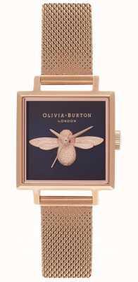 Olivia Burton Abelha 3d | pulseira de malha de ouro rosa | mostrador quadrado de abelha OB16AM96