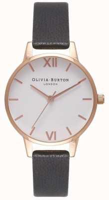 Olivia Burton Pulseira de couro preto feminino | mostrador midi branco OB16MDW07