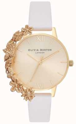 Olivia Burton Algemas de caso | pulseira de couro nu | mostrador de ouro OB16CB10