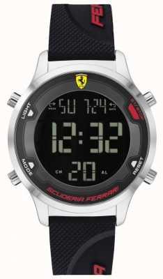 Scuderia Ferrari Digitrack masculino | pulseira de borracha preta | mostrador digital preto 0830756