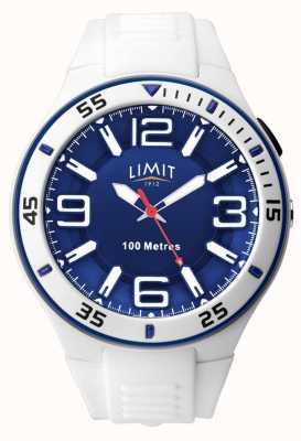 Limit Unissex | pulseira de borracha branca | mostrador azul 5763.65