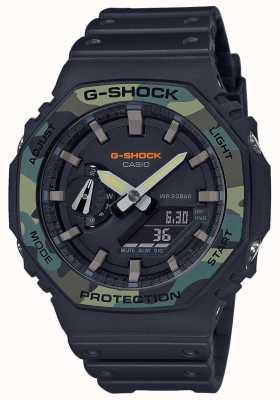 Casio G-shock | moldura em camadas | pulseira de borracha preta | caixa de carbono GA-2100SU-1AER