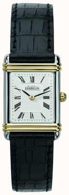 Michel Herbelin Art deco das mulheres | pulseira de couro preto | mostrador prateado 17478/T08