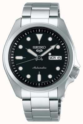 Seiko Relógio automático desportivo masculino 5 | mostrador preto SRPE55K1