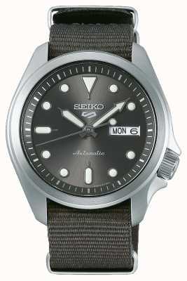 Seiko Relógio automático desportivo masculino 5 | nato cinza SRPE61K1