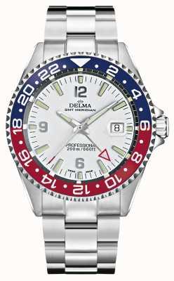 Delma Quartzo gmt | moldura de dois tons | pulseira de aço inoxidável | 41701.648.6.P014