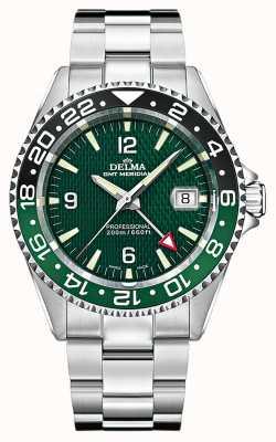 Delma Quartz gmt | moldura de dois tons | pulseira de aço inoxidável 41701.648.6.144
