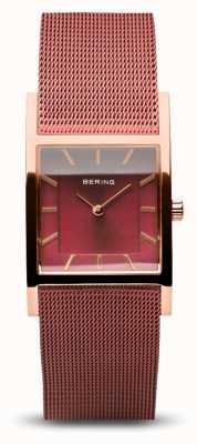 Bering Clássico das mulheres   ouro rosa polido   pulseira de malha vermelha 10426-363-S