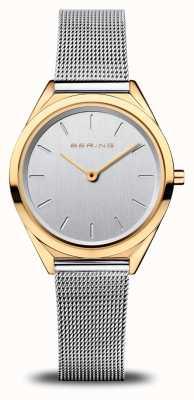 Bering Ultra fino das mulheres   pulseira de malha de prata   ouro polido 17031-010