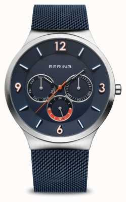 Bering Clássico dos homens | prata escovada | pulseira de malha azul | mostrador azul 33441-307
