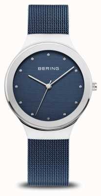 Bering Clássico das mulheres   prata polida   pulseira de malha azul 12934-307