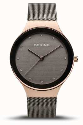 Bering Clássico das mulheres   ouro rosa polido   pulseira de malha cinza 12934-369