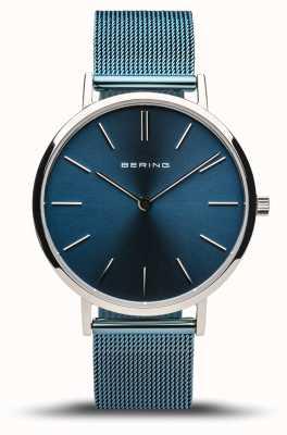 Bering Clássico das mulheres | prata polida | pulseira de malha azul 14134-308