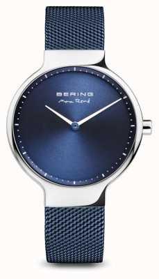 Bering Max rené | prata polida | pulseira de malha azul 15531-307