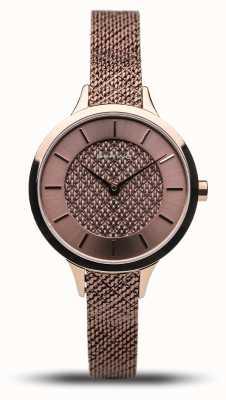 Bering Clássico das mulheres   rosa polida   pulseira de malha de ouro rosa 17831-265