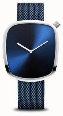 Bering Clássico | seixo | azul escovado | discagem quadrada | malha azul 18040-307