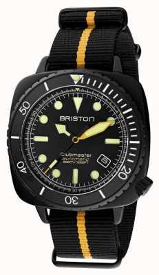 Briston Clubmaster diver pro | correia preta / amarela da NATO | mostrador preto 20644.PBAM.B.34.NBY