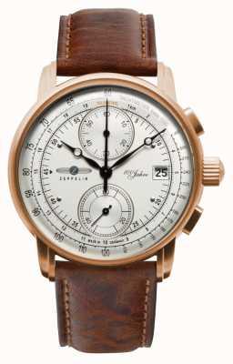 Zeppelin Cronógrafo para homem | 100 anos | pulseira de couro marrom 8672-1