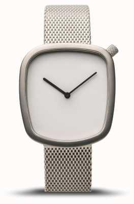 Bering Clássico | seixo | prata escovada | malha de prata | mostrador branco 18034-004