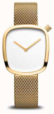Bering Clássico | seixo | pulseira de malha de ouro | mostrador branco 18034-364