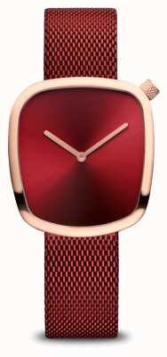 Bering Clássico   ouro rosa polido   malha vermelha 18034-363