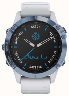 Garmin Fenix 6 pro solar | pulseira de borracha branca de titânio mineral azul 010-02410-19