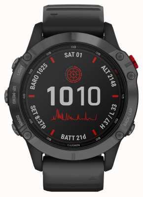 Garmin Fenix 6 pro solar   pulseira de borracha preta cinza ardósia 010-02410-15