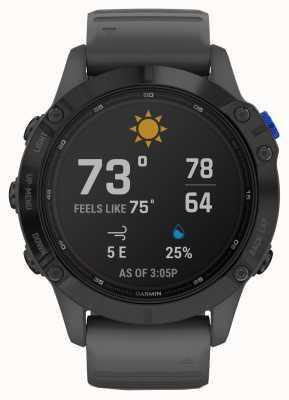 Garmin Fenix 6 pro solar | preto com pulseira de borracha cinza ardósia 010-02410-11