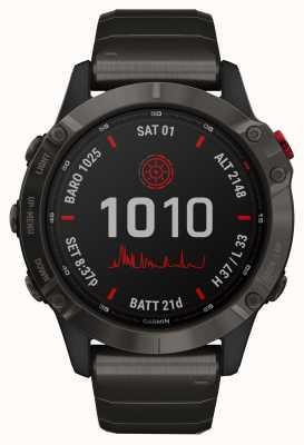 Garmin Fenix 6 pro solar | pulseira de titânio cinza carbono dlc 010-02410-23