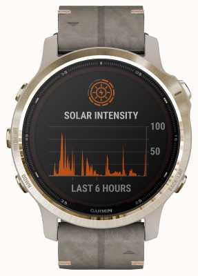 Garmin Fenix 6s pro solar | bracelete em camurça cinza xisto ouro claro 010-02409-26